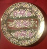"PLATE, VINTAGE, GOLD LEAF TRIM WITH ROSE MOTIF, HAND PAINTED, ""ANDREA"" BY SADEK"