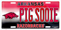 ARKANSAS RAZORBACKS PIG SOOIE EMBOSSED METAL NOVELTY LICENSE PLATE TAG