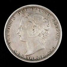 1882 Victoria Newfoundland Canada 50 Cents Silver Coin Circulated