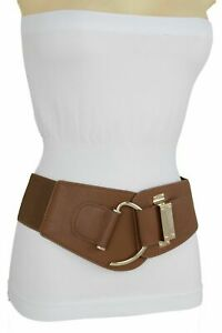 Women Brown Faux Leather Fabric Elastic Wide Band Belt Gold Hook Buckle Size M L