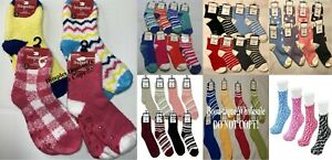 SNUGADOO TOO SUPER SO SOFT LADIES FUZZY SOCKS SIZE 9-11 NON-SKID(GRIPPER) COLORS