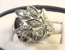 Beautiful 14 K White Gold Gothic Diamond Cluster Leaf Flower Sz 4 Cocktail Ring