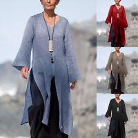 ZANZEA Womens Long Sleeve V Neck Tunic Tops Blouse Long Split Kaftan Shirts Plus