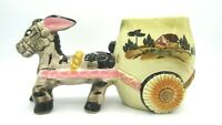"Vintage Donkey Pulling Cart House Horizon Planter Ceramic Hand Painted 7 1/2"" L"