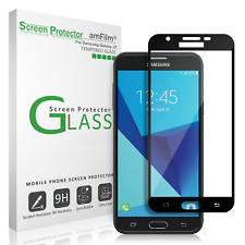 Samsung Galaxy J7 amFilm Full Cover Tempered Glass Screen Protector (Black)
