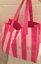 Victoria's Secret Pink Striped Fabric Carryall Tote Bag Large Size Canvas Purse