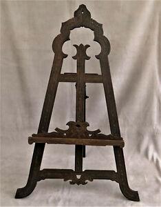 Ancien CHEVALET de Présentation en Bois Sculpté et Gravé (66cm) XIXème Siècle