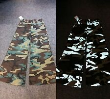 BNWT Camo/Camouflage Reflective Cyber/Goth/Rave Baggy/Flared Trousers W36 L33