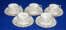 Coalport Bone China 5 x  Somerset Trios, Tea Cup, Saucer & Side Plate.