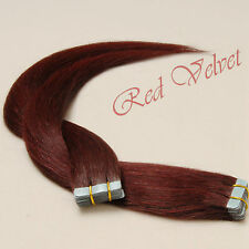 100% Remy Human Hair Seamless Tape in Hair Extensions #99J(Deep Wine Burgundy)