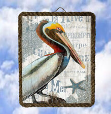 Tropical Beach 37 Pelican Handmade Wood Plaque Prints Wall Decor lalarry ventage