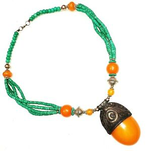 Tribal Necklace Tibetan Jewelry Beads Nepali Banjara Pendant Gift Year Resin