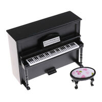Black Dollhouse Miniature Wooden Upright Piano With Stool Model Play Toy HGUK