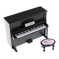 Black Dollhouse Miniature Wooden Upright Piano With Stool Model Play Toys