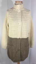 New Hanna Andersson Ivory/Tan Two Tone Sweater Cardigan Coat sz L
