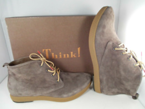 Think! Umadum Taupe Kred/Velvet Goat Suede Ankle Boots Women's Size's US NIB