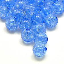 Lot of 50 Round 8mm Crackle Plastic Acrylic Loose Beads with Internal Cracks