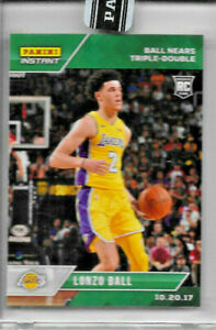 2017-18 PANINI INSTANT LONZO BALL ROOKIE GREEN #19 PARALLEL 6/10 TRIPLE DOUBLE