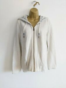 Fat Face Size 10 Textured Zip Up Hooded Top Off White Pockets