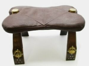 VINTAGE SADDLE STOOL FOOTSTOOL FAUX LEATHER  SEAT & BRASS PLAQUES DETAIL