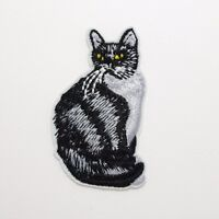Black and White Cat Patch — Iron On Badge Embroidered Motif — Kitten Kitty #329