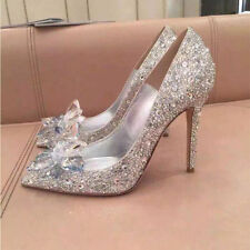 Silver Cinderella Rhinestone Glass Slipper Wedding Dress High Heels Prom Shoes**