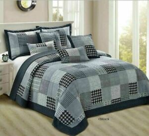 3 Piece Bedspread Quilted Filled Cotton Check Printed Comforter New Arrival