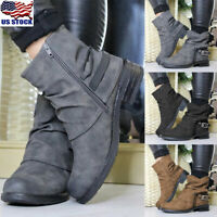 Womens Block Heels Ankle Boots Casual Zipper Martin Shoes Buckle Ankle Boots US