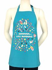"Kids French Apron ""The Candies""  Les Bonbons Turquoise 100% Cotton"