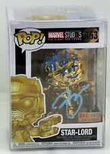 Funko Pop 353 Star Lord Gold Chrome Box Lunch Exclusive With Protector autograph