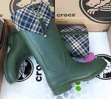 CROCS BRIDLE WELLIE PLAID JAUNT GEORGIE RAIN BOOTS SHOE~Green Blue~Women 9~NWT