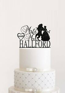 Beauty And Beast Wedding Cake Topper Mr & Mrs With Last Name