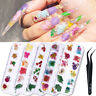 Real Dry Dried Flower Leaves 3D UV Gel Tips Nail Art Wheel Decoration Flowers