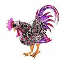 Brooch Pins Animal Women Charm Party Hot Sale Retro Cock Rooster Purple Crystal