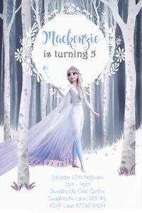 Personalised Disneys Frozen 2 Birthday Party invites Inc Envleopes FR23