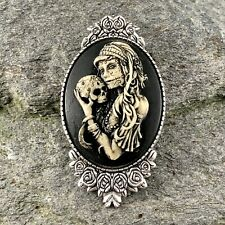 Painted, Halloween, Day of the Dead Gypsy Sugar Skull Cameo Silver Brooch Pin,