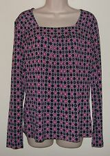 """East 5th Multi Color Long Sleeve Pull Over Top Large Bust 40"""" Length 25"""""""