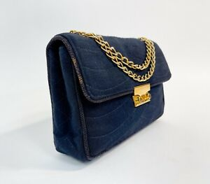 Rare VTG 1970s CHANEL Wool Jersey Wave Stitch Flap Bag Purse