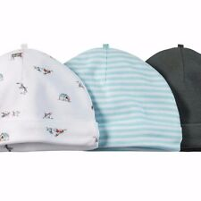 Carter's baby 3-Pack 100% cotton Rib Beanies hats - boy blue olive dogs