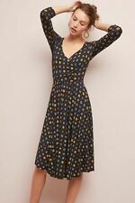 NEW Anthropologie Maeve Archival Wrap Dress Size Black Floral Career Party Sz XS