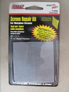 "Screen Patch Repair Kit 3"" x 3"" Fiberglass Screens 5 Pack #P8096 NEW"