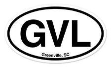 "GVL Greenville SC South Carolina Oval car window bumper sticker decal 5"" x 3"""