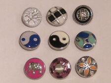 NOOSA STYLE 3D  SNAP ON BUTTONS/CHUNKS -TREE OF LIFE, BLACK CIRCLE, PURPLE DELIG