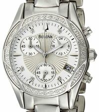 $525 Bulova Women's Diamond Mother-Of-Pearl Dial Bracelet Watch 96R134 PRE-OWNED
