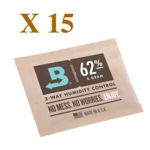 Neuf Boveda 8 Gramme 62% Humidipack - 2 Way Humidité Control (15 X 8g)
