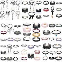 10pcs/3pcs Sexy Gothic Punk Velvet Lace Choker Pendant Chain Necklace Set Gift