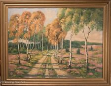 Mid Century Landscape Oil Painting With Trees & Pink Flowers, Signed & Beautiful