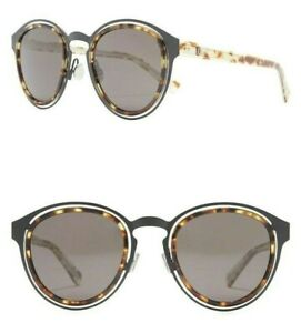 Christian Dior Obscure Limited Edition 49mm Round Sunglasses Black Havana / Grey