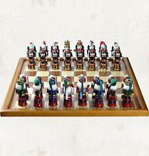Weihnachts-Schachspiel Riesiges Schachbrett m. Holzfiguren im Nussknacker-Outfit