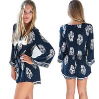 Women Sexy Jumpsuit Long Sleeves Deep V Neck Rompers Floral Print Short Pant